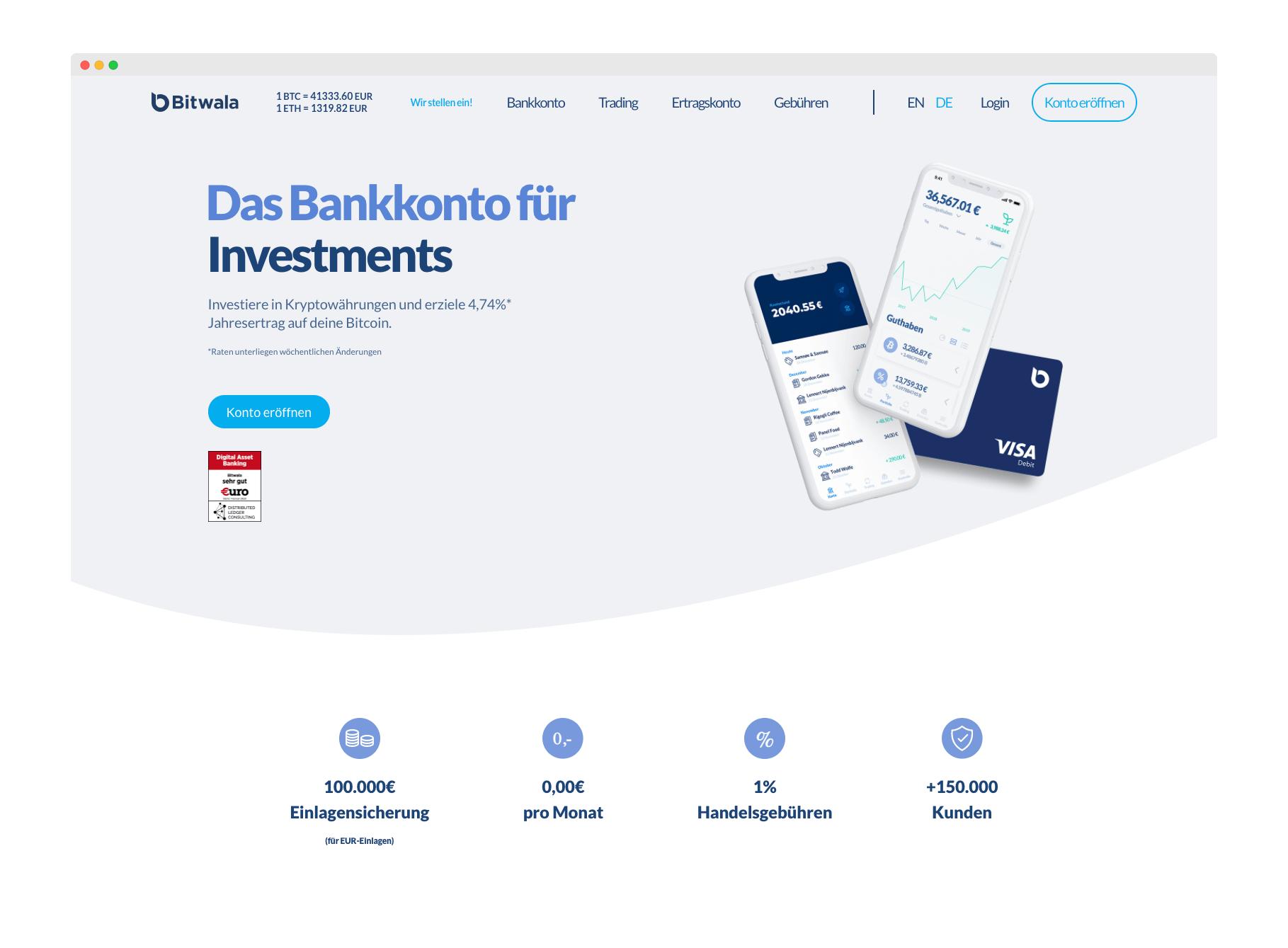 Bitwala Webseite