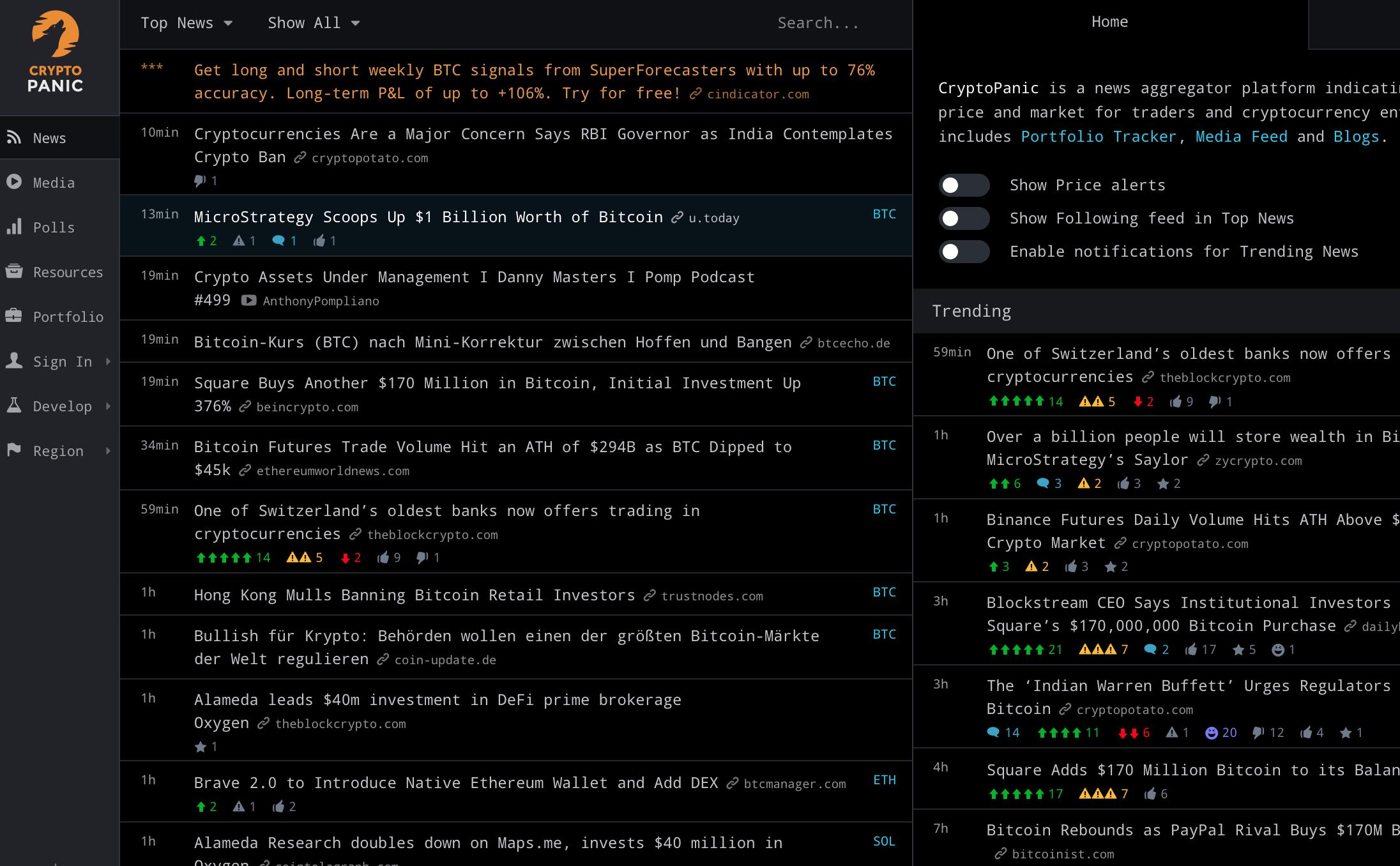 CryptoPanic Webseite