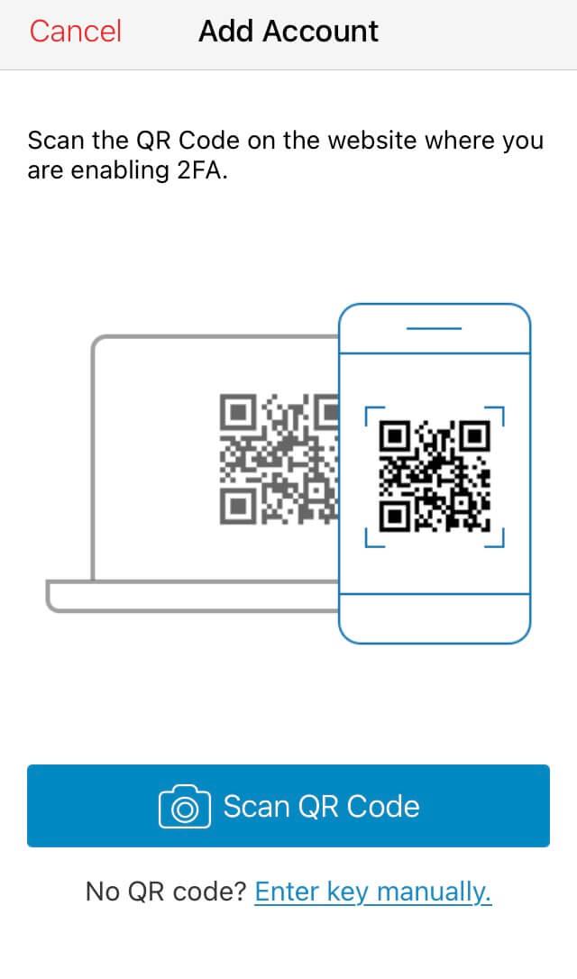 Authy 2FA App: Account hinzufügen